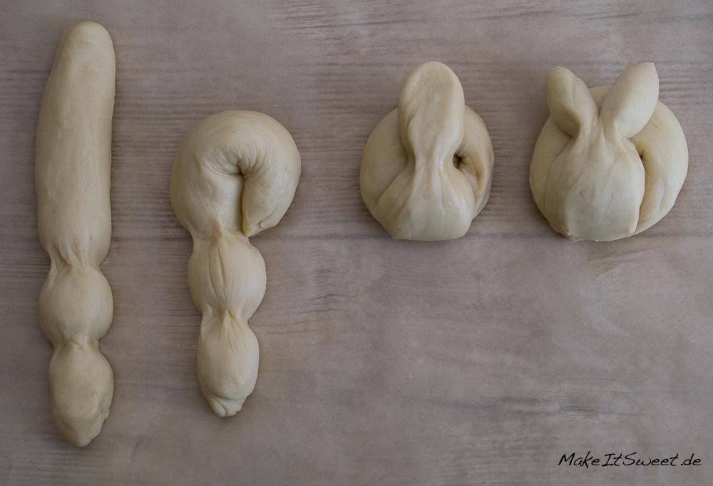 Osterhase Dambedai Ostern Rezept Hefeteig Anleitung Kneten Falten