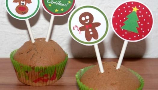 Weihnachtliche Cupcake Topper Printable