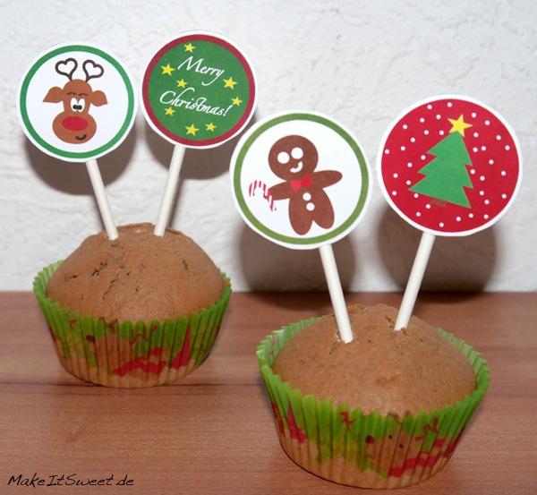 Weihnachtliche CupCake Topper Printable Kostenlos DIY