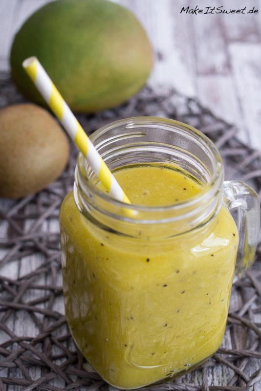 Mango Kiwi Orange Limette Smoothie Rezept fruchtig vegetarisch vegan glutenfrei gesund