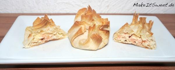 Mini Lachstaschen in Filoteig Haeppchen Fingerfood Rezept