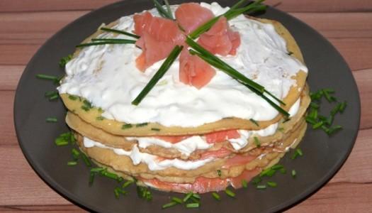 Räucherlachs Pfannkuchen Torte Rezept
