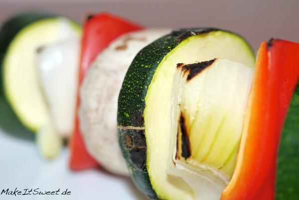 Gegrillte Spiesse Vegetarisch Rezept Anleitung Paprika Zucchini Zwiebeln Champions