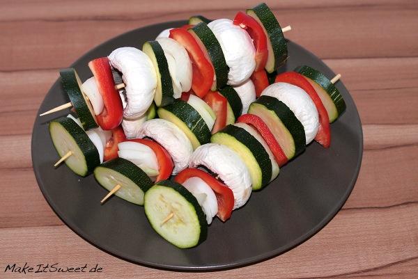 Grillspiess Vegetarisch Rezept Zucchini Champion Zwiebel Paprika