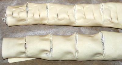Schinken-Frischkaese-Tascihen falten einschneiden Schritt fuer Schritt