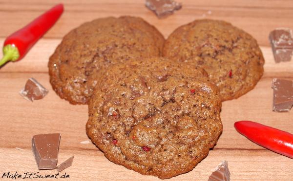 Schokolade Chili Cookies Keks scharf Rezept