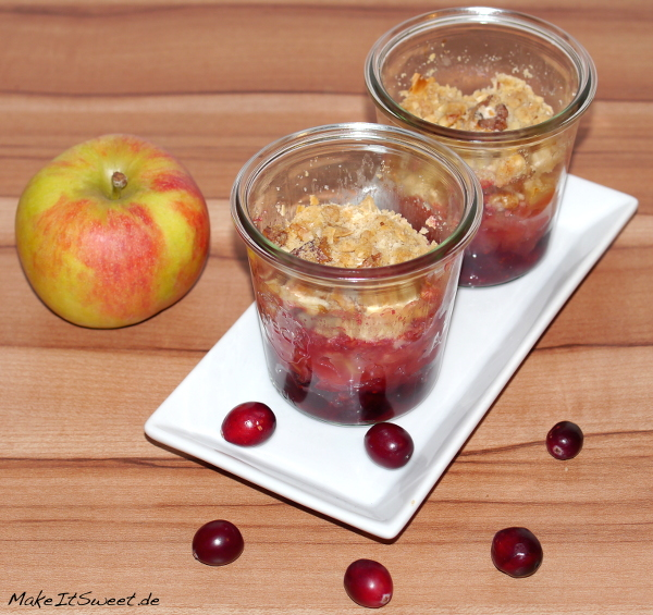 Apfel Cranberries Crumble Glas Rezept