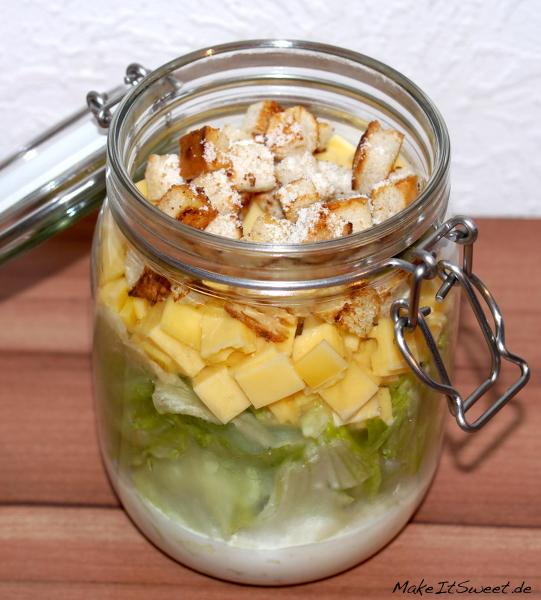 Salat im Glas Caesars Salad Schichten Schichtsalat Vorbereiten Rezept