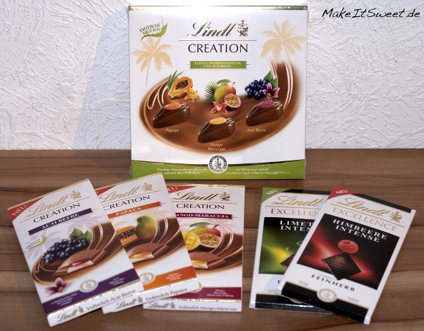 Lindt Creation Papaya Mango-Maracuja Acai Beere Lindt Excellence Himbeere Intense Limette Intense
