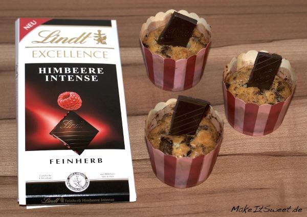 Lindt Excellence Himbeere Intense Muffin mit Schokostuecken Rezept
