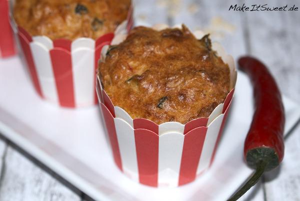 Scharfe Muffins herzhaft mit Chilli Rezept vegetarisch