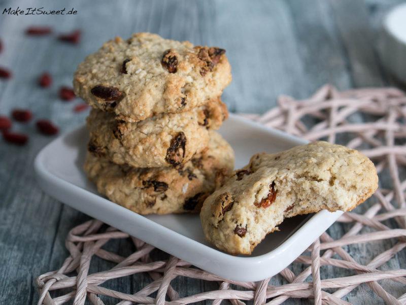 Goji Beeren Haferflocken Superfood Kokosmus Keks Cookie Rezept vegetarisch laktosefrei