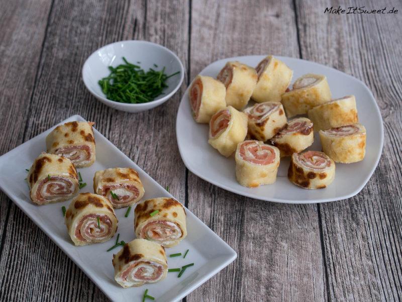 Lachs Pfannkuchen Roellchen Fingerfood Rezept