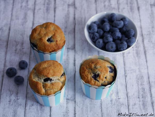 Muffin vegan Rezept Blaubeere Banane ohne Ei laktosefrei ohne Zucker mit Stevia
