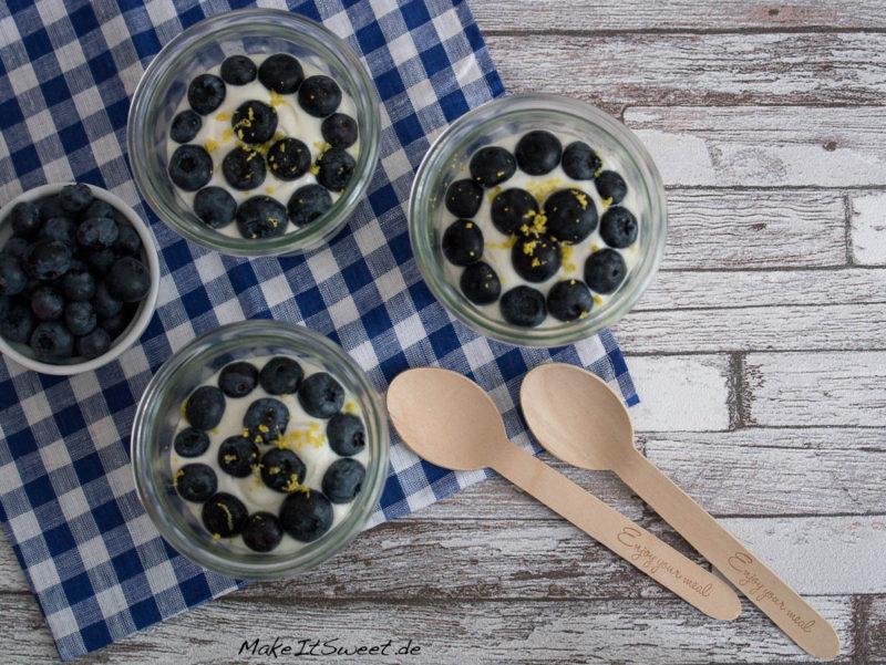 Nachtisch Blaubeere Zitrone Quark Sommer einfaches Rezept