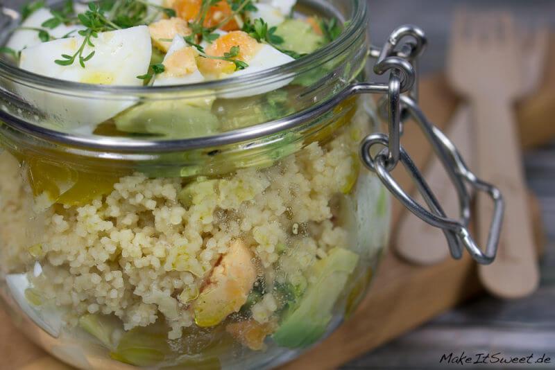 Couscoussalat Avocadosalat Eiersalat im Glas Rezept einfach schnell