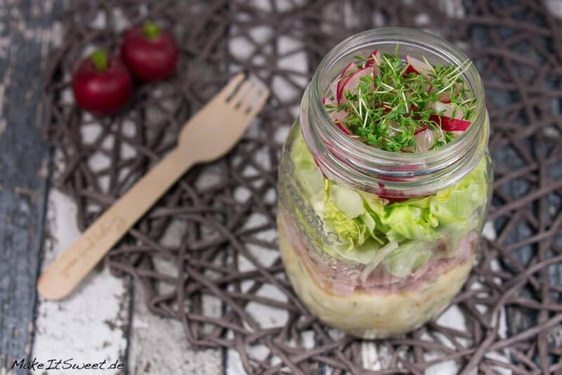 Schinken Eier Radieschen Salat im Glas Rezept zubereiten mitnehmen schnelles Essen