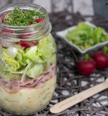Schinkensalat Eiersalat Radieschensalat im Glas Rezept einfach Anleitung