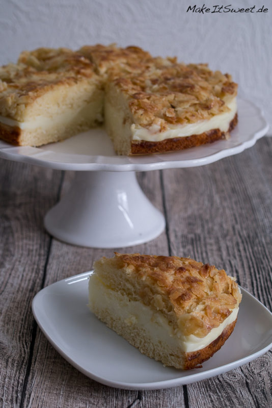 Bienenstich Kuchen Rezept einfach Mandeln Creme Fuellung