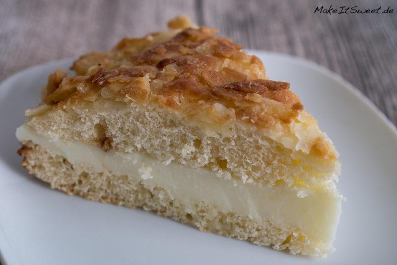 Bienenstich Kuchen Rezept lecker schnell einfach Mandeln Creme