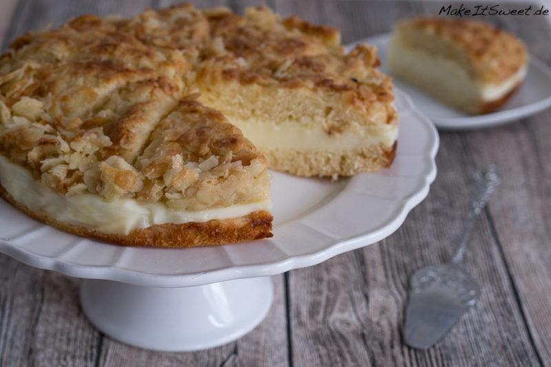 Bienenstich Rezept Mandeln Kuchen Cremefuellung Sommerkuchen einfach