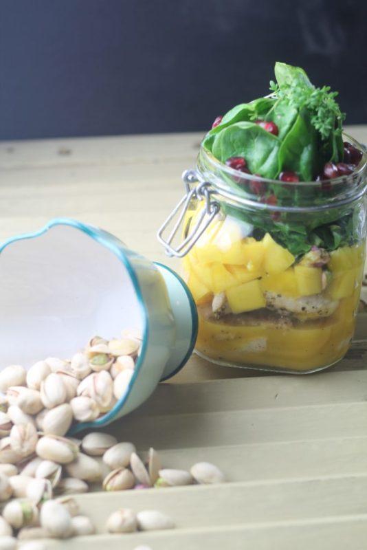 blogparade meinwunderbareschaos Haehnchen-Spinat-Mango-Salat Rezept