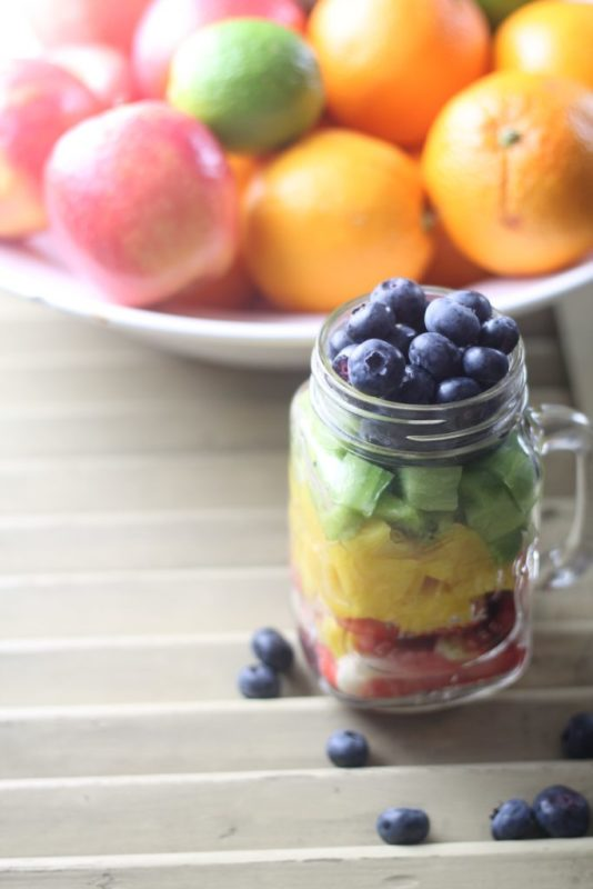 blogparade meinwunderbareschaos Regenbogen-Obstsalat im Glas rezept