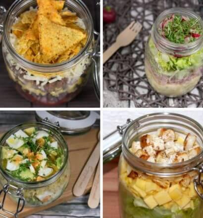 13 Rezepte Salat im Glas Nudeln Salate Eier Avocado Kaese Mais Tomate Couscous Bacon Thunfisch
