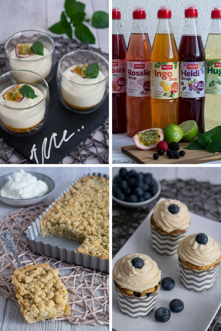 Spitz Sirup Rezepte Rhabarber Tarte Heidelbeere Muffins mit Topping Schichtdessert Quark Passionsfrucht Minze