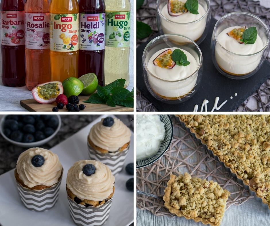 Spitz Sirups Rezept Rhabarber Tarte Heidelbeere Muffins mit Topping Schichtdessert Quark Passionsfrucht Minze
