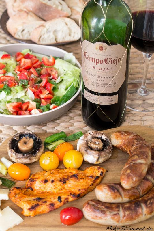 Grillen Rotwein Fleisch Gemuese Rioja fuer Weingeniesser
