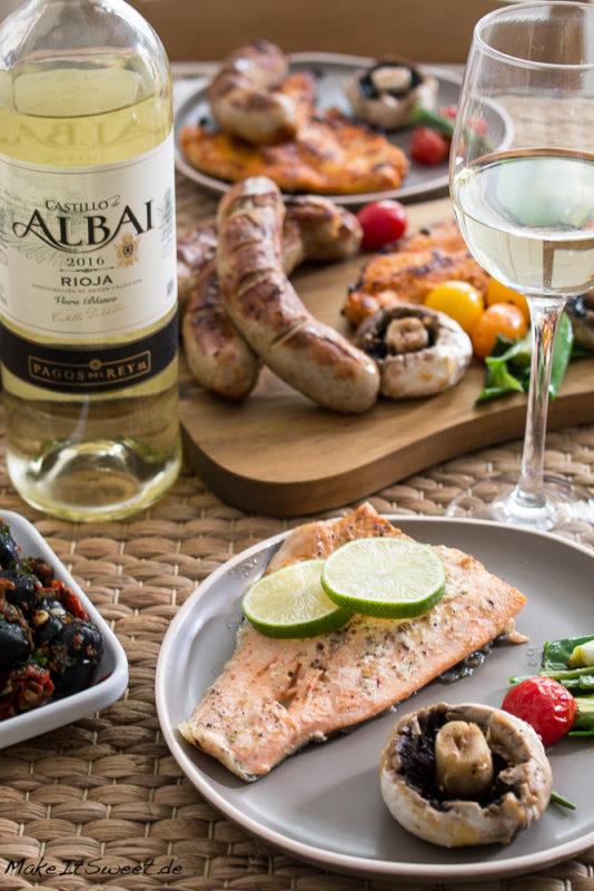 Grillen Weisswein Lachs Fisch Rioja fuer Weingeniesser