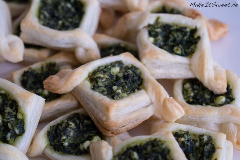 Spinat Feta Fingerfood vegetarisch Haeppchen Blaetterteig Rezept