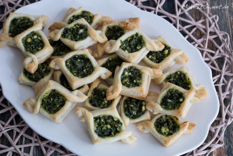 Spinat Feta Schiffe Blaetterteig Rezept Fingerfood Haeppchen einfach